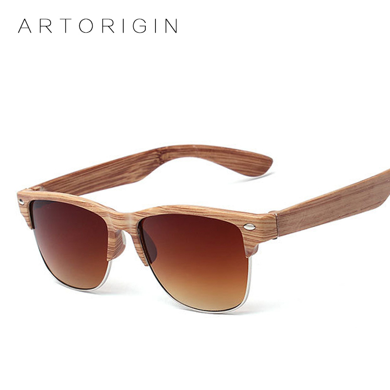 ARTORIGIN Half Frame Designer Eyewear Wood Sunglasses for Men ...
