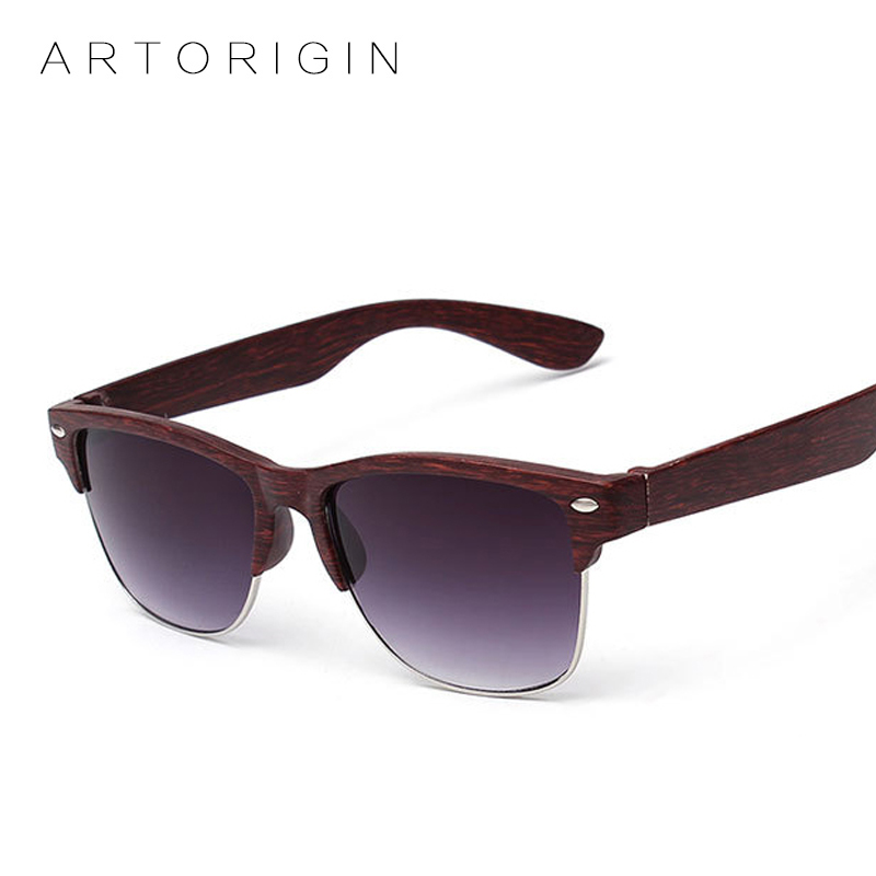 ARTORIGIN Half Frame Designer Eyewear Wood Sunglasses for Men ...