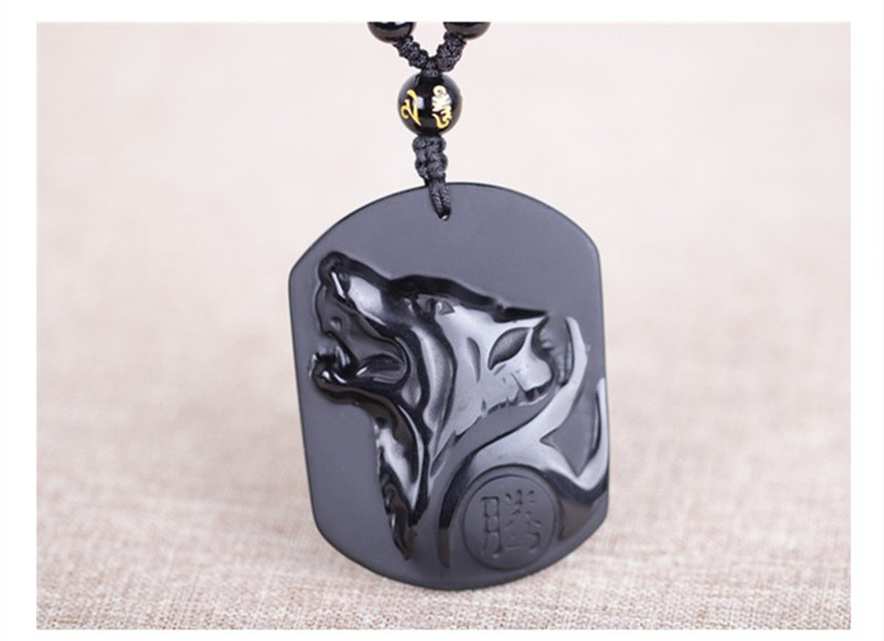 Black obsidian carving wolf head amulet pendant free necklace black obsidian carving wolf head amulet pendant free necklace obsidian blessing lucky pendant jewelry for men alizbay canada aloadofball Choice Image