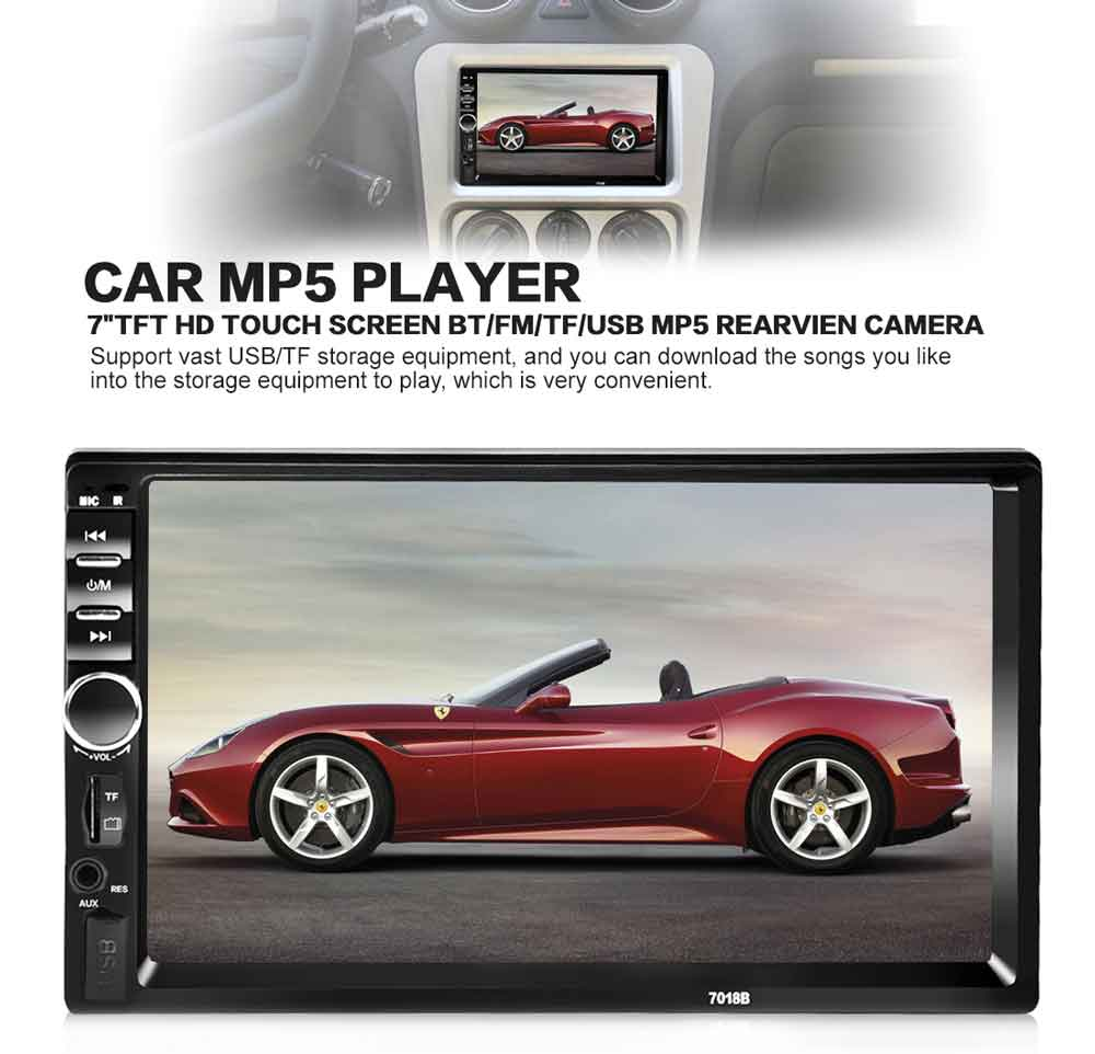 """7/"""" Double 2 DIN HD Car MP5 MP3 Player Bluetooth Touch Screen Stereo Radio USB//TF"""